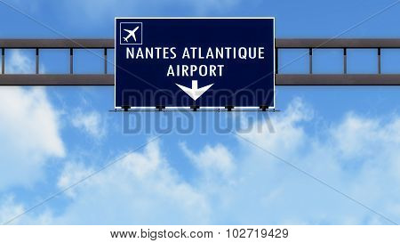 Nantes Atlantique France Airport Highway Road Sign