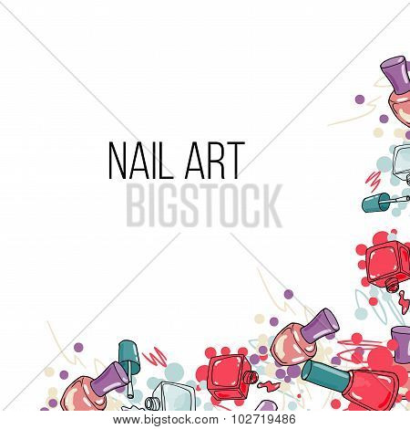 Vector nail lacquer bottles background border