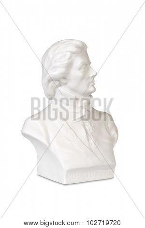 Sculpture bust of Polish and American hero Tadeusz Kosciuszko.