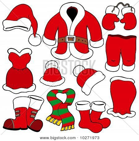 Various Santa Claus clothes