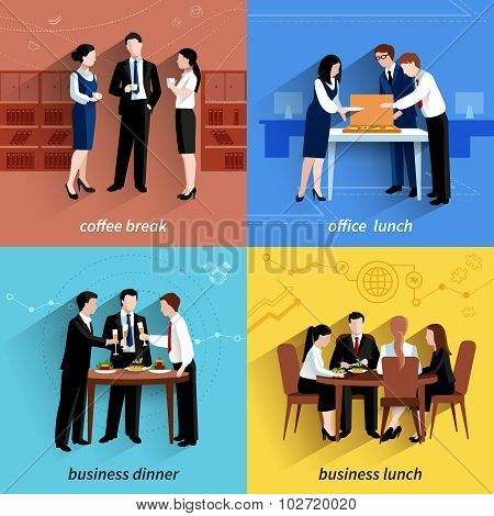 Business lunch 4 flat icons square