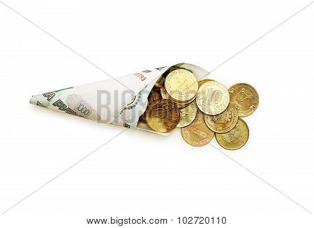 Cone Of Coiled Ruble Banknotes With Coins On White.