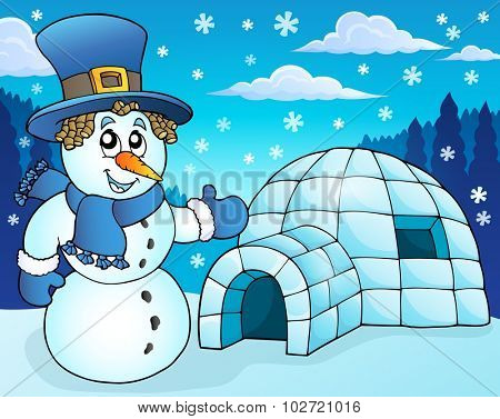 Igloo with snowman theme 3 - eps10 vector illustration.