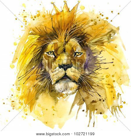 Lion King T-shirt graphics,  Lion illustration with splash watercolor textured background. unusual i