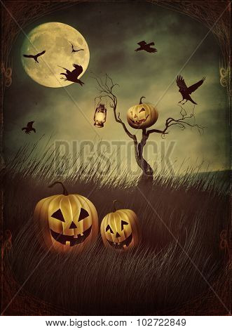 Pumpkin scarecrow in fields of tall grass at night with vintage look