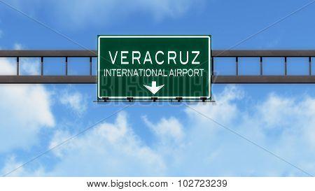 Veracruz Mexico Airport Highway Road Sign