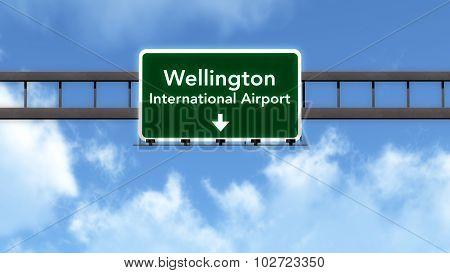 Wellington New Zealand Airport Highway Road Sign