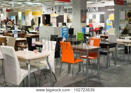 MOSCOW, RUSSIA - 24.09.2015. The interior of  shop Hoff - one of the largest Russian furniture netwo