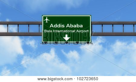 Addis Ababa Ethiopia Airport Highway Road Sign
