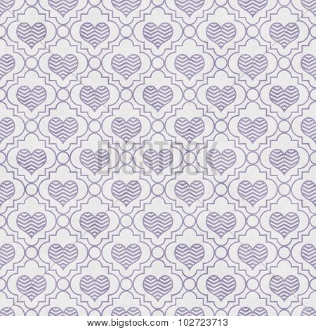Purple And White Chevron Hearts Tile Pattern Repeat Background