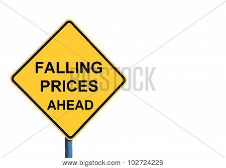 Yellow Roadsign With Falling Prices Ahead Message