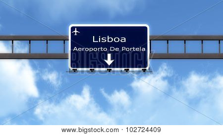 Lisbon Portugal Airport Highway Road Sign