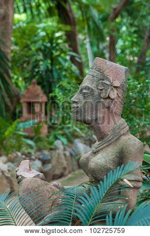 statues in  modern luxury hotel, Samui, Thailand
