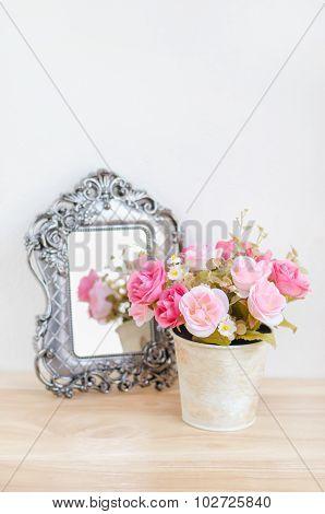 Pastel Coloured Artificial Pink Rose Wedding Bridal Bouquet In Flowerpot