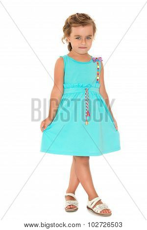 Adorable little fashion girl with beautiful hair
