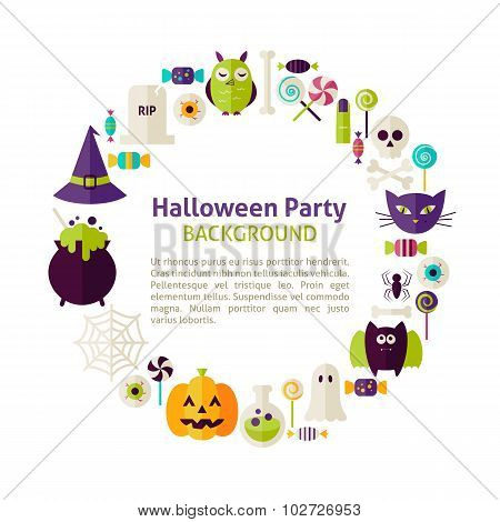 Flat Style Vector Circle Template Collection Of Halloween Party Objects Over White