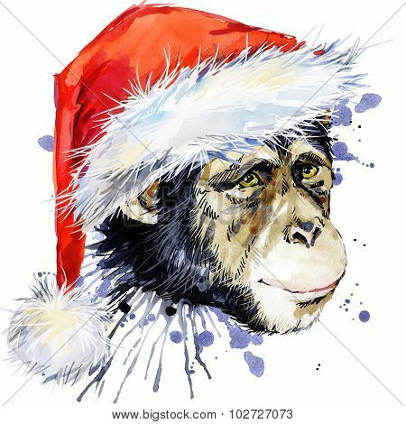 monkey Santa Clause  T-shirt graphics,  monkey chimpanzee illustration with splash watercolor textur