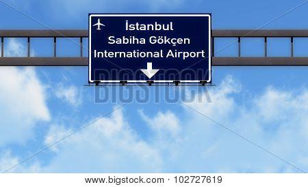 Istanbul Gokcen Turkey Airport Highway Road Sign