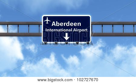 Aberdeen Scotland United Kingdom Airport Highway Road Sign