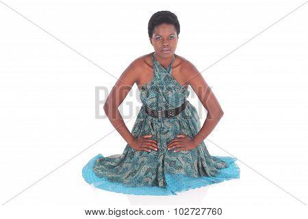 African Female In A Blue Dress