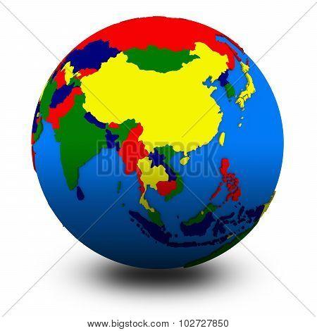 Southeast Asia On Political Globe Illustration