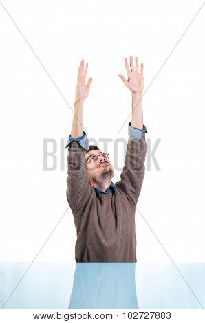 Man reaching up