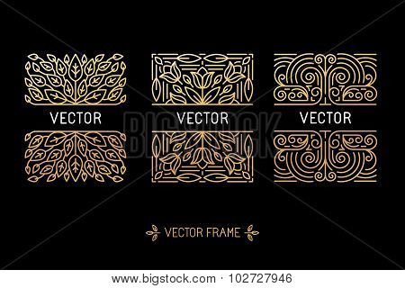 Vector Set Of Linear Frames And Floral Backgrounds With Copy Space For Text