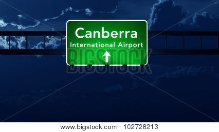 Canberra Australia Airport Highway Road Sign At Night