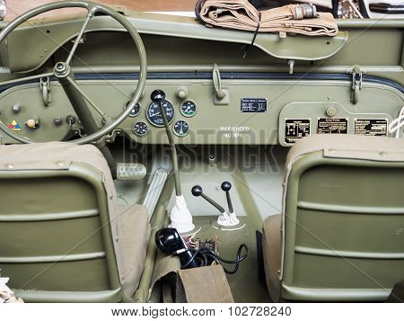 Dashboard Of An Old Military Car.