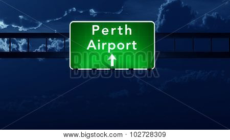 Perth Australia Airport Highway Road Sign At Night
