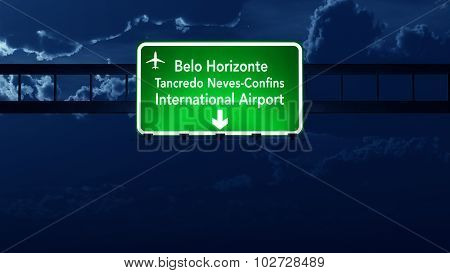 Belo Horizonte Brazil Airport Highway Road Sign At Night