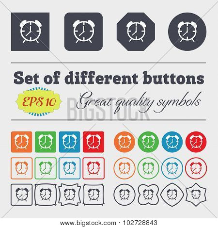 Alarm Clock Sign Icon. Wake Up Alarm Symbol. Big Set Of Colorful, Diverse, High-quality Buttons. Vec