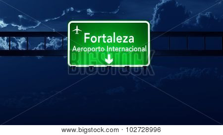 Fortaleza Brazil Airport Highway Road Sign At Night