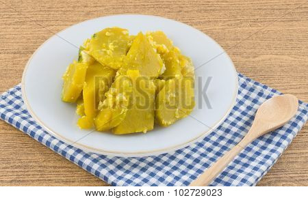 Stir Fried Pumpkin With Egg In White Plate