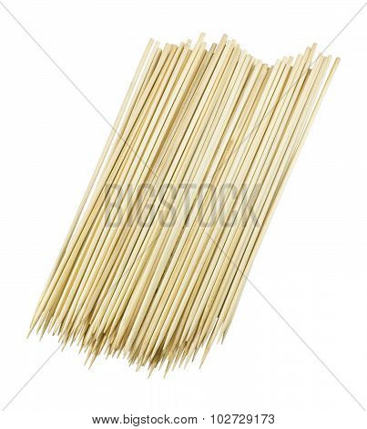 Stack Of Wooden Skewers On A White Background