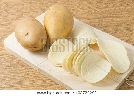 Two Potato And Potato Chips Or Crisp