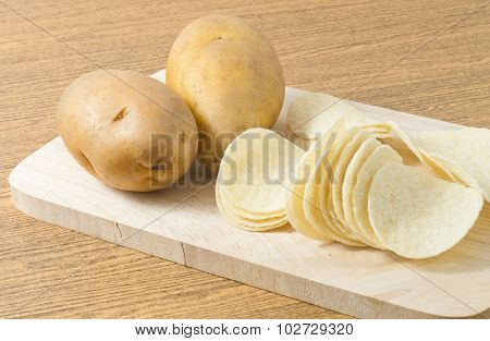 Two Potato Tuber And Potato Chips Or Crisp