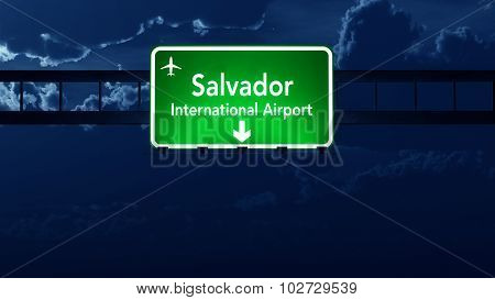 Salvador Brazil Airport Highway Road Sign At Night