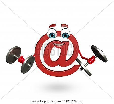 Cartoon Character Of At The Rate Sign With Weights