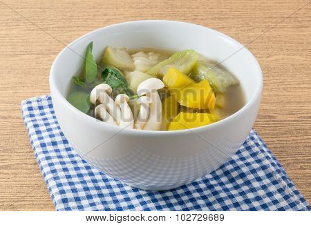 Delicious Thai Hot And Spicy Mixed Vegetables Soup