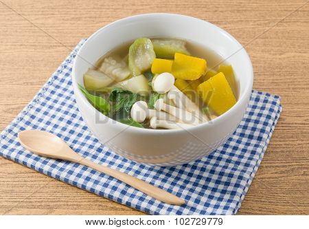 Bowl Of Thai Hot And Spicy Mixed Vegetables Soup