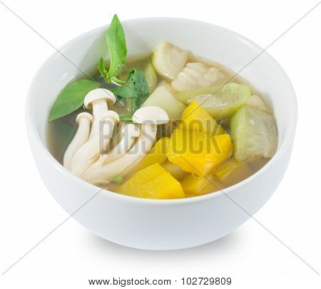 Thai Spicy Mixed Vegetables Soup On White Background
