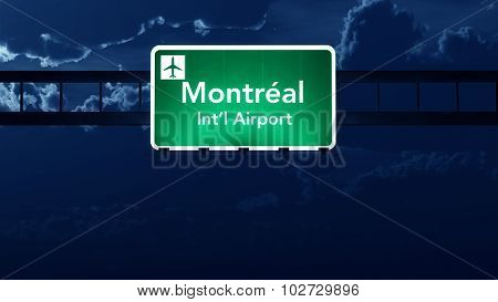 Montreal Canada Airport Highway Road Sign At Night