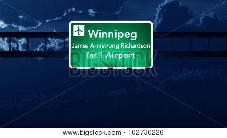 Winnipeg Canada Airport Highway Road Sign At Night
