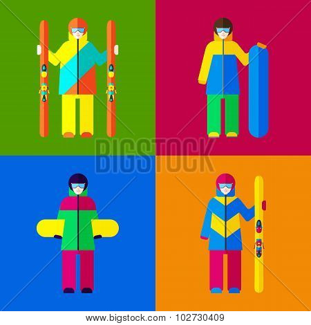 Woman with skis and snowboards. Set of vector illustrations.