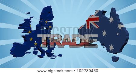 EU Australia map flags with trade text illustration