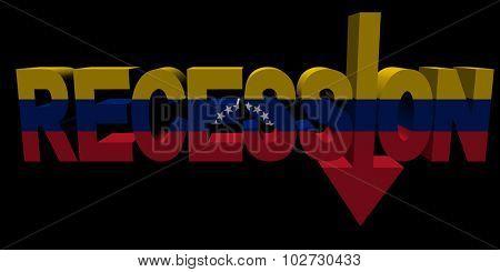 Recession text arrow with Venezuelan flag illustration
