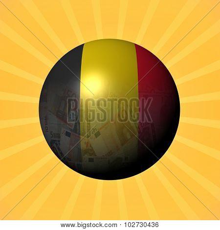 Belgium flag euros sphere on sunburst illustration