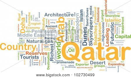 Background concept wordcloud illustration of Qatar