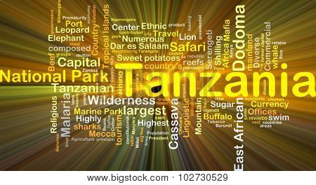 Background concept wordcloud illustration of Tanzania glowing light